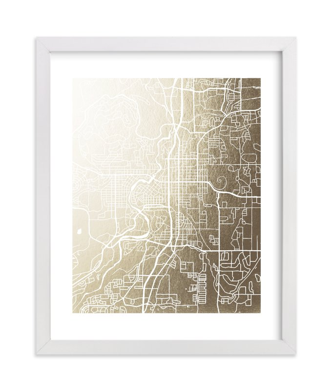"""""""Bend Map"""" - Foil-pressed Art Print by Laura Condouris in beautiful frame options and a variety of sizes."""