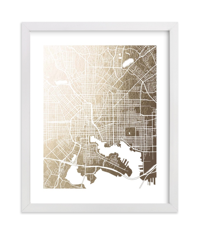 """""""Baltimore Map"""" - [non-custom] Foil-pressed Art Print by Laura Condouris in beautiful frame options and a variety of sizes."""
