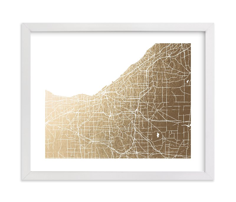 """Cleveland Map"" - [non-custom] Foil-pressed Art Print by Laura Condouris in beautiful frame options and a variety of sizes."