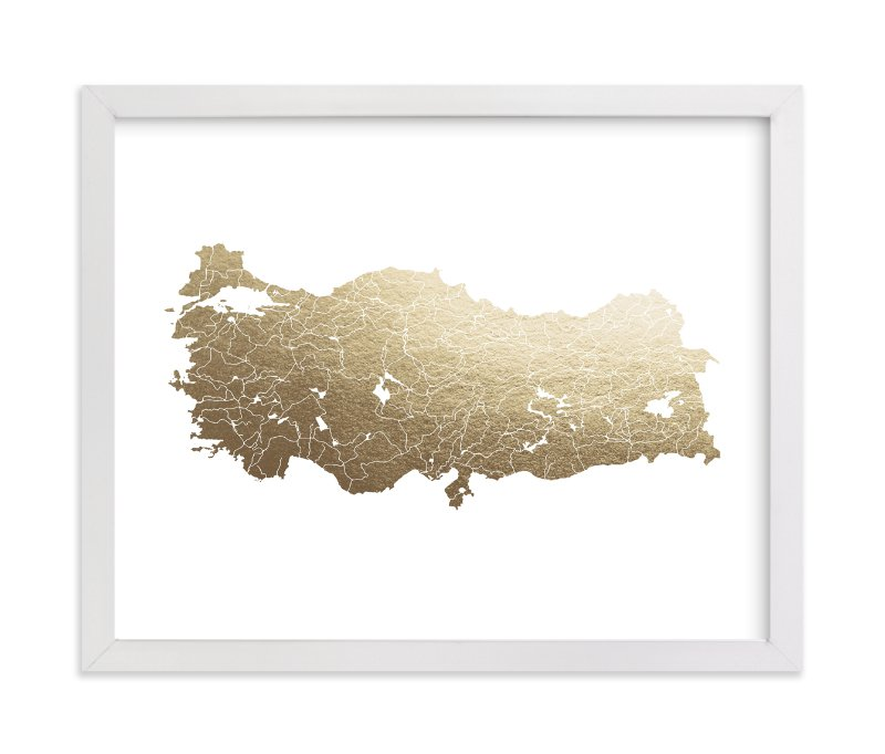 """""""Turkey Map"""" - [non-custom] Foil-pressed Art Print by Jorey Hurley in beautiful frame options and a variety of sizes."""