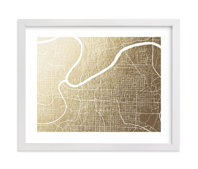 """""""Kansas City Map"""" - [non-custom] Foil-pressed Art Print by Griffinbell Paper Co. in beautiful frame options and a variety of sizes."""