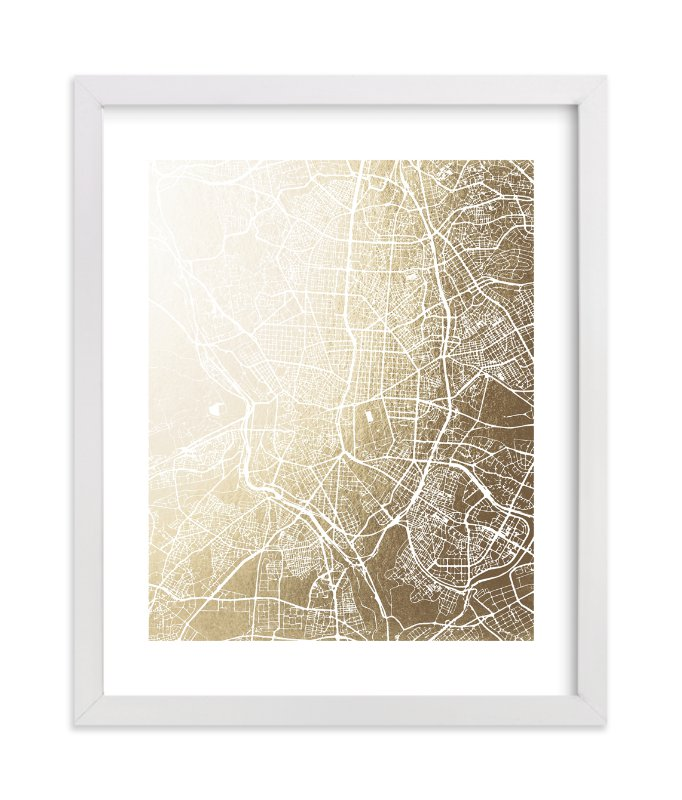 """""""Madrid Map"""" - [non-custom] Foil-pressed Art Print by Melissa Kelman in beautiful frame options and a variety of sizes."""