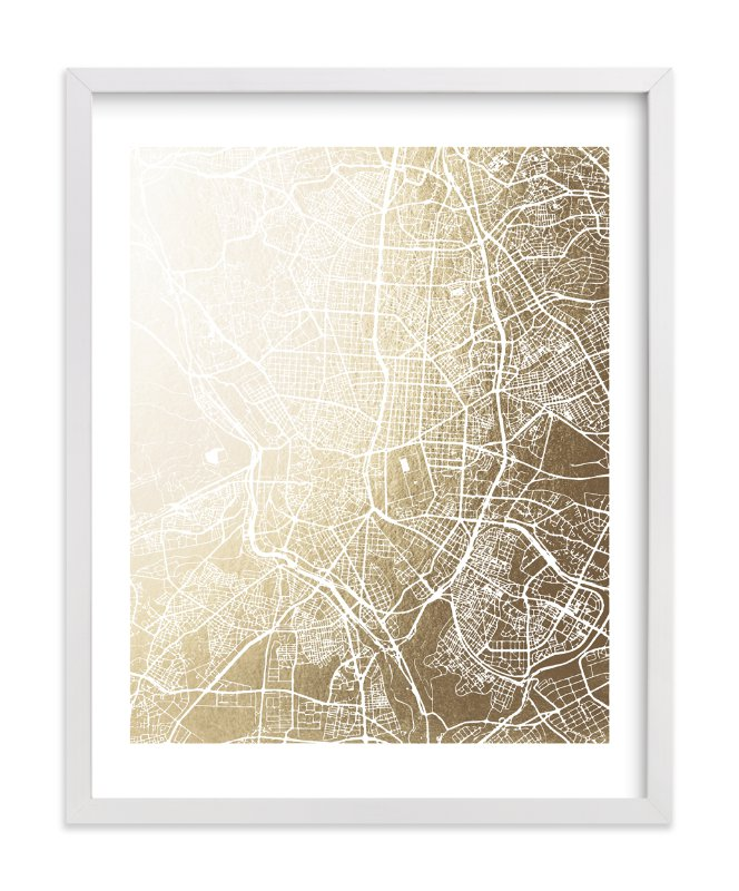 This is a gold foil stamped wall art by Melissa Kelman called Madrid Map.