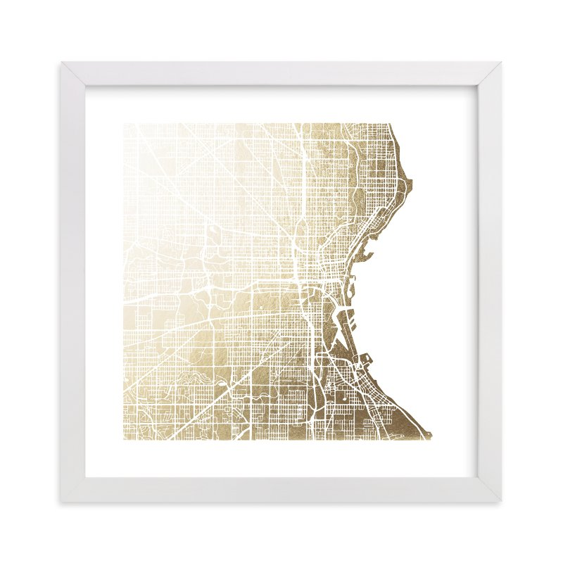 """Milwaukee Map"" - [non-custom] Foil-pressed Art Print by Melissa Kelman in beautiful frame options and a variety of sizes."