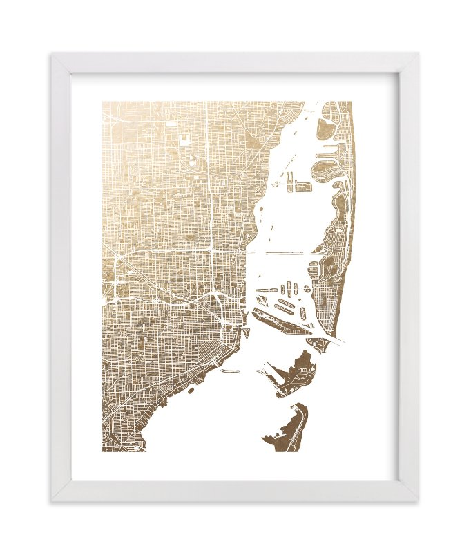 """""""Miami Map"""" - Foil-pressed Art Print by Alex Elko Design in beautiful frame options and a variety of sizes."""