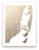 Miami Map Foil-Pressed Wall Art