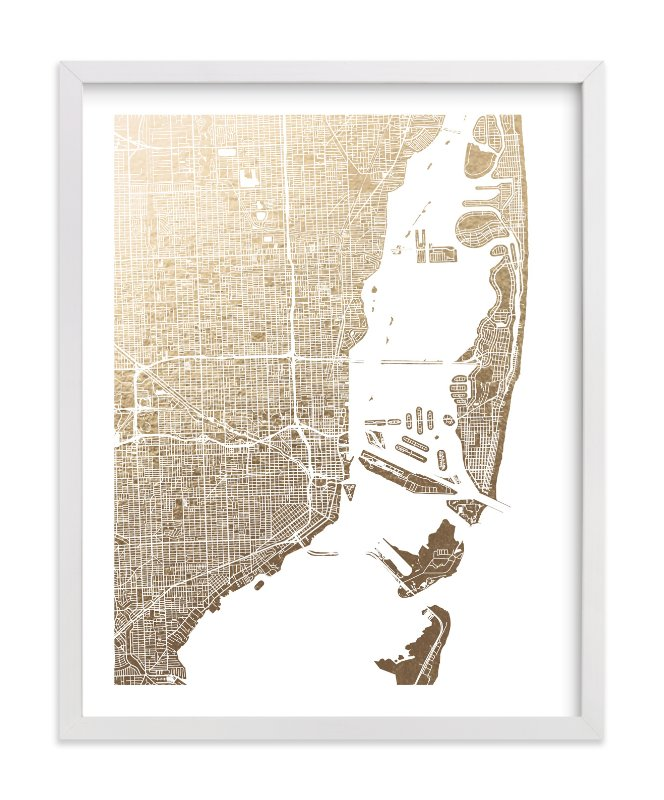 This is a gold foil stamped wall art by Alex Elko Design called Miami Map.
