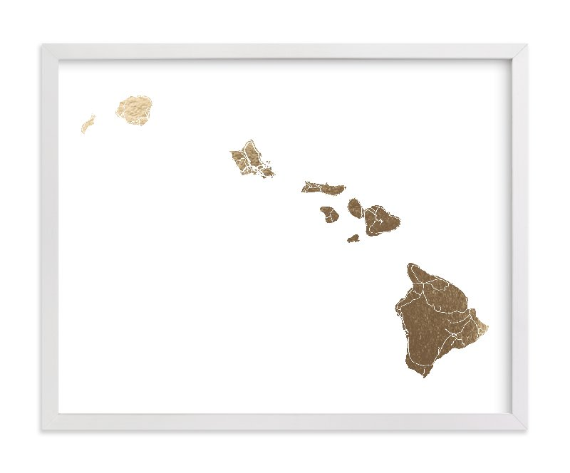"""""""Hawaii Map"""" - [non-custom] Foil-pressed Art Print by GeekInk Design in beautiful frame options and a variety of sizes."""