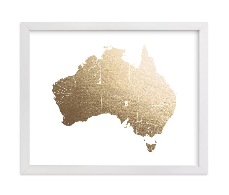 """""""Australia Map"""" - [non-custom] Foil-pressed Art Print by Jorey Hurley in beautiful frame options and a variety of sizes."""