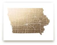 Iowa Map Foil-Pressed Wall Art