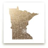 Minnesota Map Foil-Pressed Wall Art
