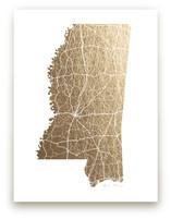 Mississippi Map Foil-Pressed Wall Art
