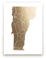 Vermont Map Foil-Pressed Wall Art