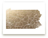 Pennsylvania Map - Filled Foil-Pressed Wall Art