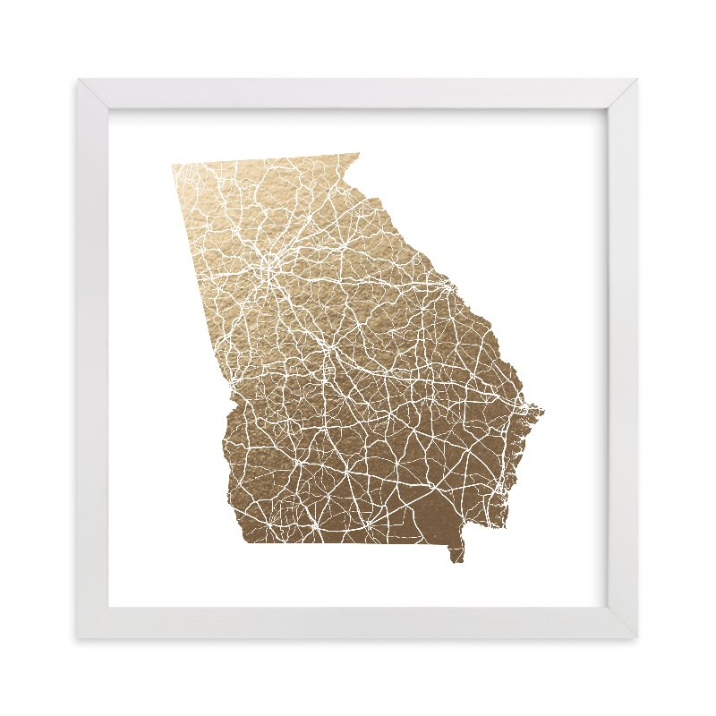 This is a gold foil stamped wall art by GeekInk Design called Georgia Map - Filled with standard.