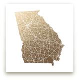 Georgia Map - Filled Foil-Pressed Wall Art