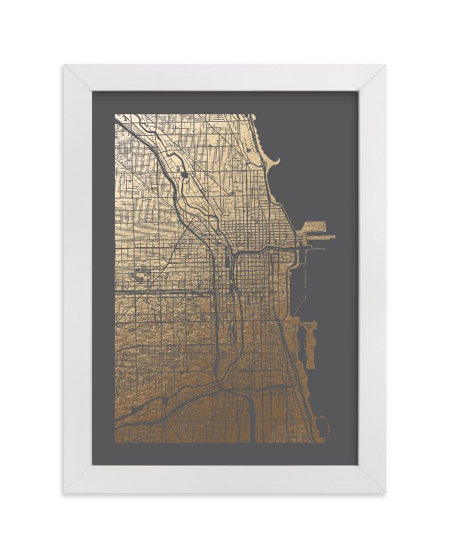 This is a grey foil stamped wall art by Alex Elko Design called Chicago Map with standard.