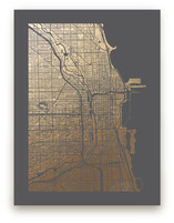 Chicago Map Foil-Pressed Wall Art