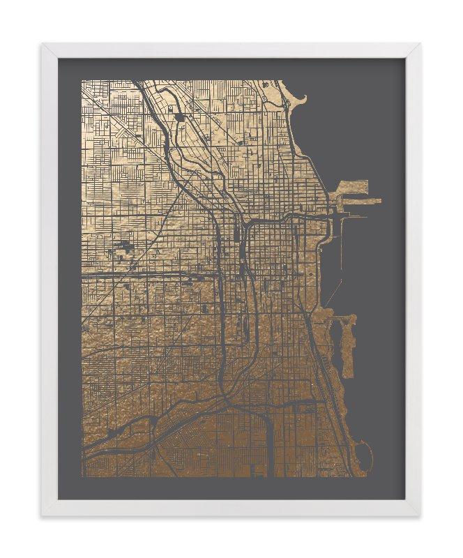 """""""Chicago Map"""" - [non-custom] Foil-pressed Art Print by Alex Elko Design in beautiful frame options and a variety of sizes."""