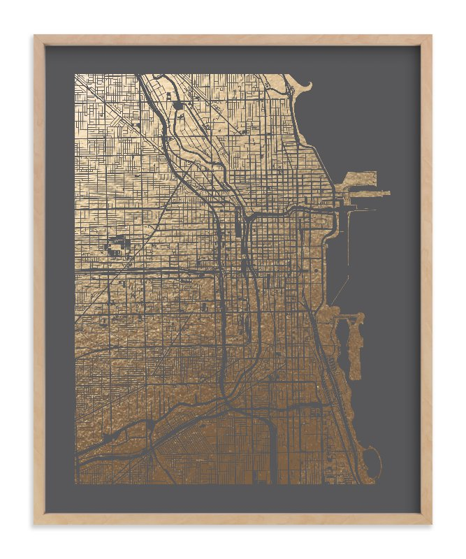Chicago Map Foil-Pressed Art Print