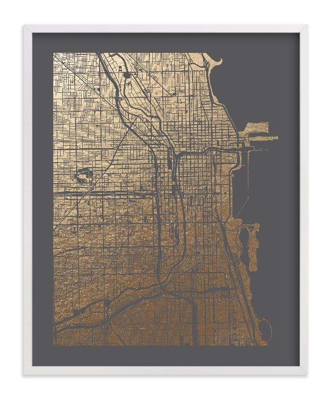 Chicago Map Foil-Pressed Art Print