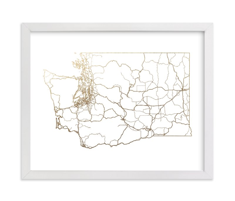 """Washington Map"" - Foil-pressed Art Print by GeekInk Design in beautiful frame options and a variety of sizes."