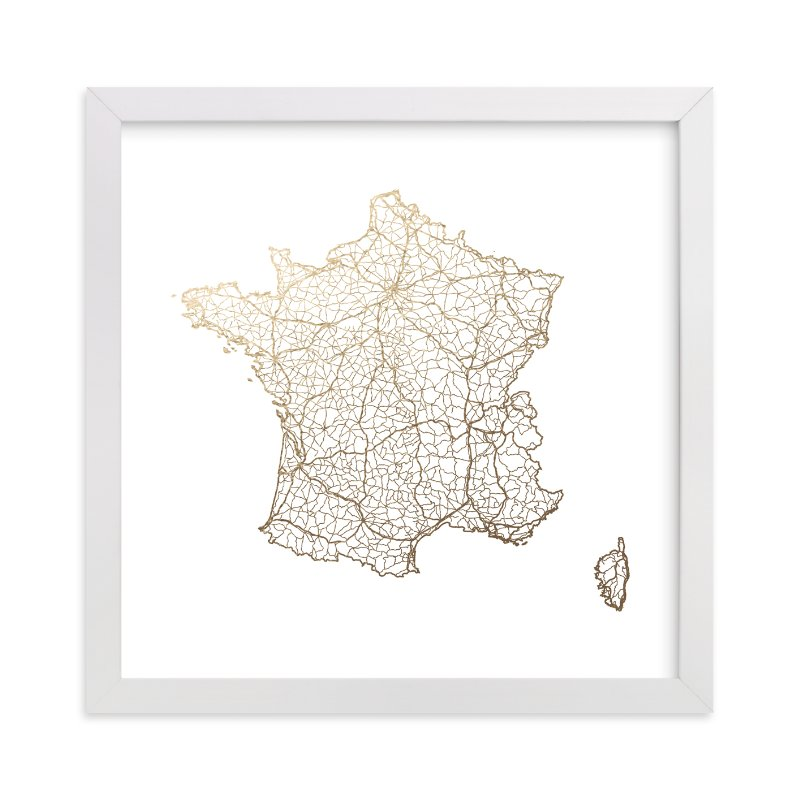"""""""France Map"""" - [non-custom] Foil-pressed Art Print by GeekInk Design in beautiful frame options and a variety of sizes."""