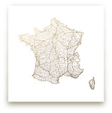 France Map Foil-Pressed Wall Art