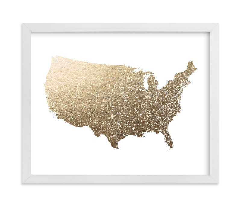 """United States Map Filled"" - Foil-pressed Art Print by GeekInk Design in beautiful frame options and a variety of sizes."