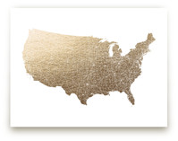 United States Map Filled Foil-Pressed Wall Art