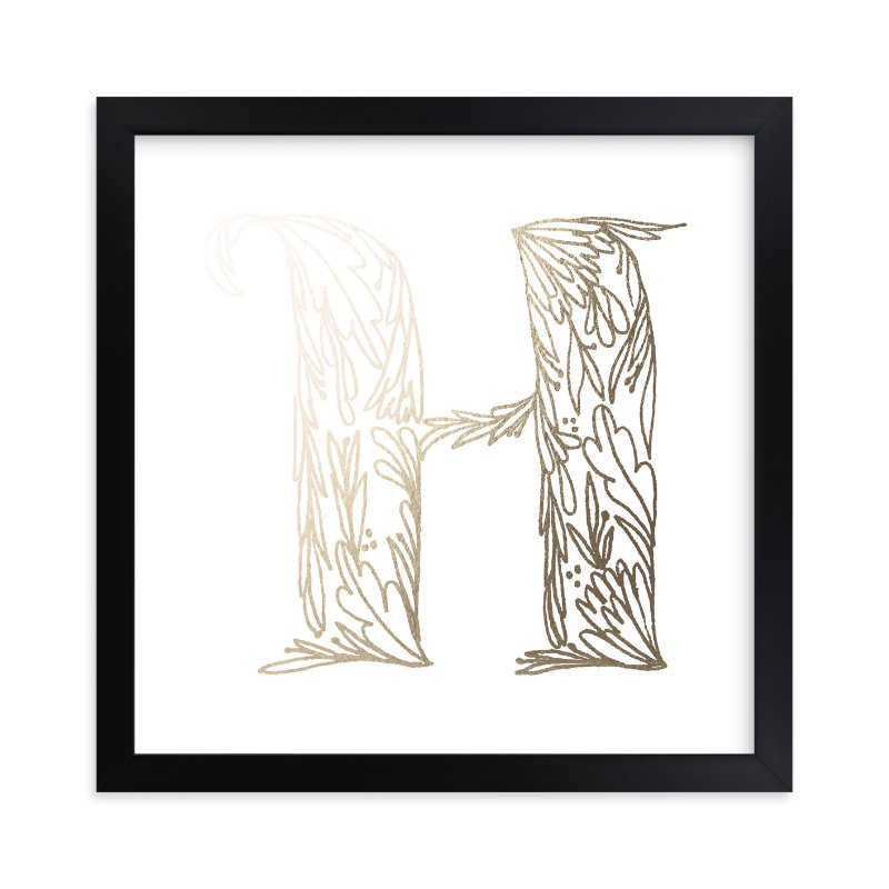 """Botanical H"" - Foil-pressed Art Print by Grace Kreinbrink in beautiful frame options and a variety of sizes."