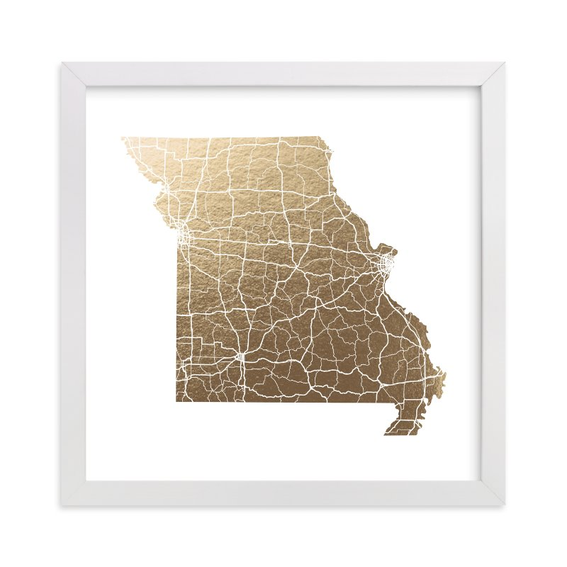 """Missouri Map"" - Foil-pressed Art Print by GeekInk Design in beautiful frame options and a variety of sizes."