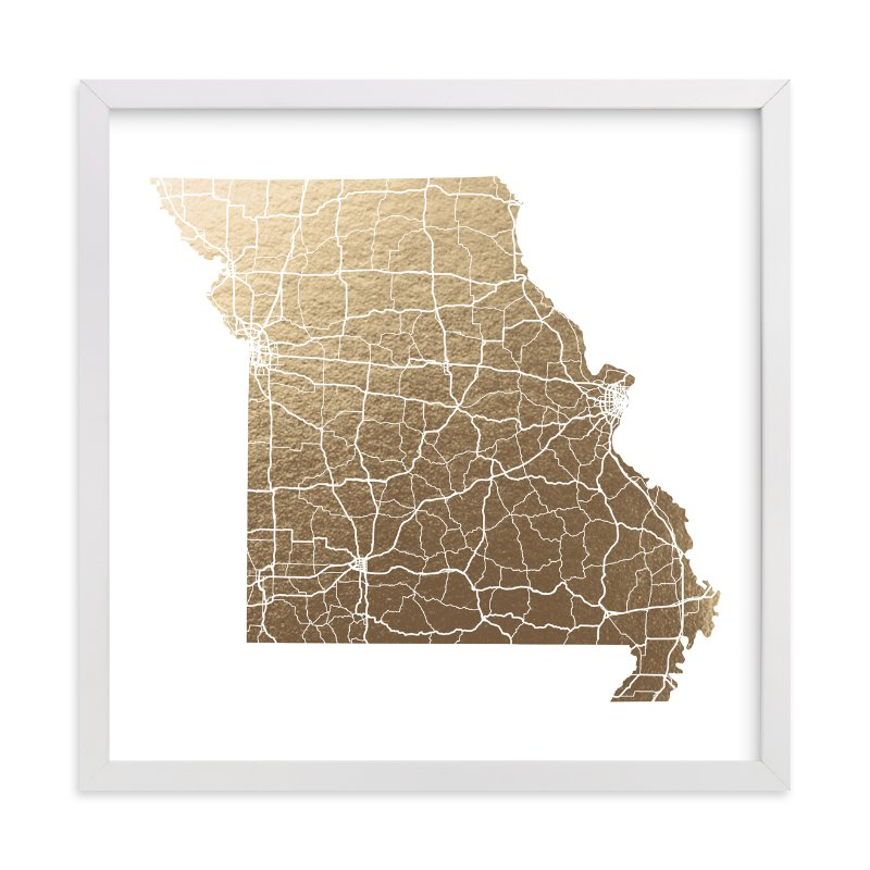 """""""Missouri Map"""" - Foil-pressed Art Print by GeekInk Design in beautiful frame options and a variety of sizes."""