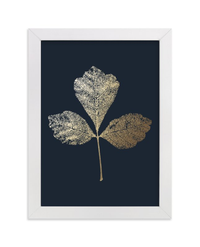 This is a blue foil stamped wall art by LemonBirch Design called Fragrant Sumac with standard.