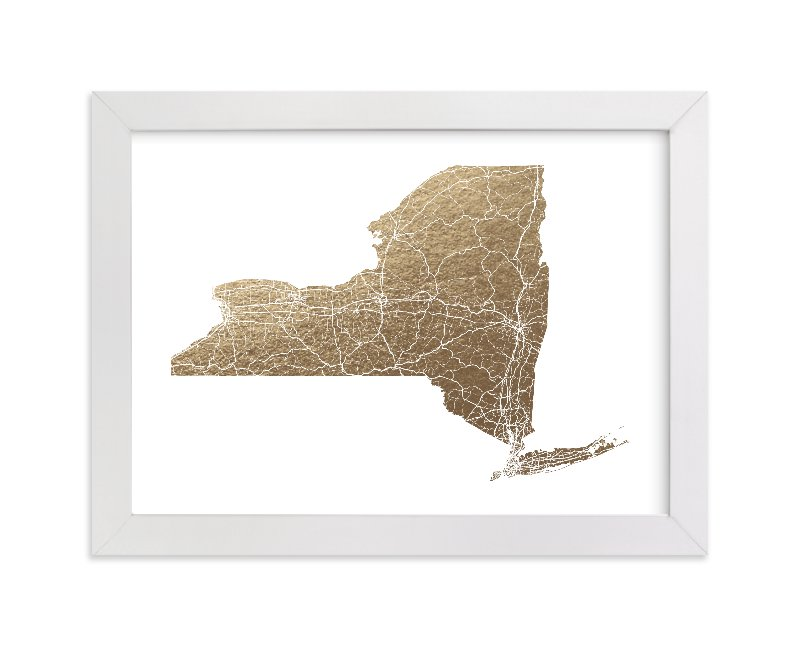 """New York Map Filled"" - [non-custom] Foil-pressed Art Print by GeekInk Design in beautiful frame options and a variety of sizes."