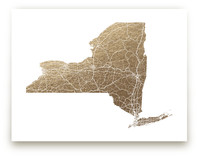 New York Map Filled Foil-Pressed Wall Art