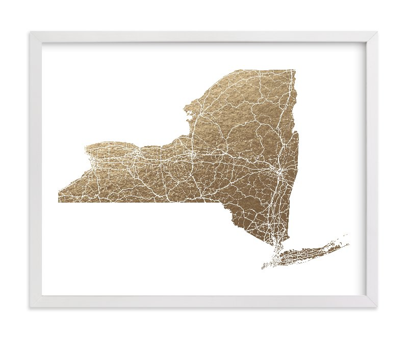 """""""New York Map Filled"""" - [non-custom] Foil-pressed Art Print by GeekInk Design in beautiful frame options and a variety of sizes."""