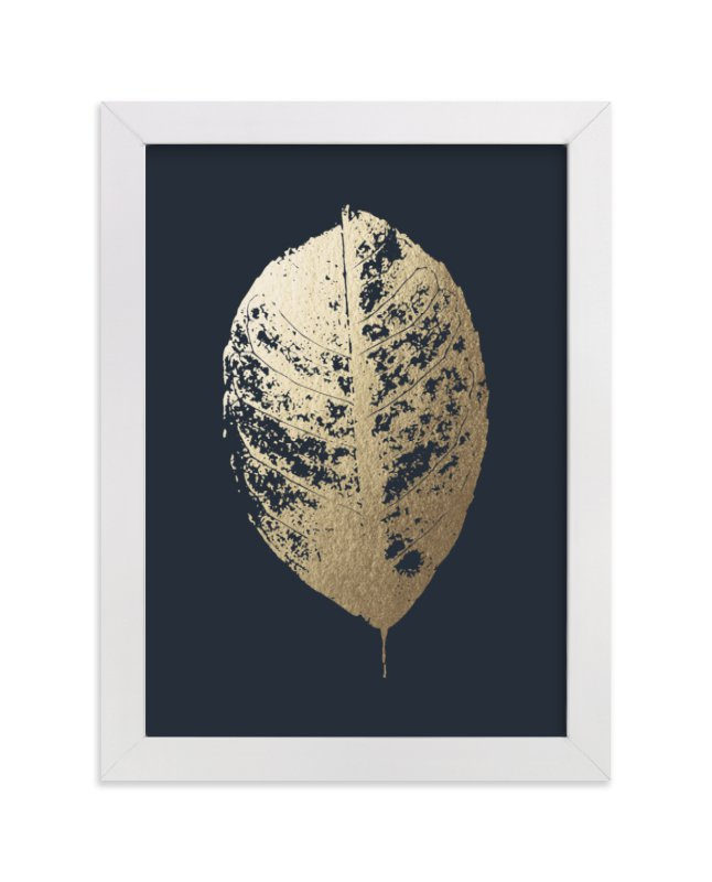 This is a blue foil stamped wall art by LemonBirch Design called Lemon Tree.