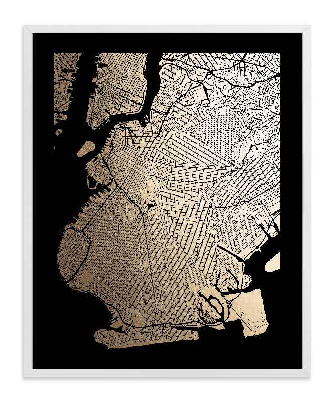 """Brooklyn Map"" - [non-custom] Foil-pressed Art Print by Alex Elko Design in beautiful frame options and a variety of sizes."