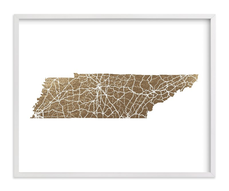 This is a gold foil stamped wall art by GeekInk Design called Tennessee Map.