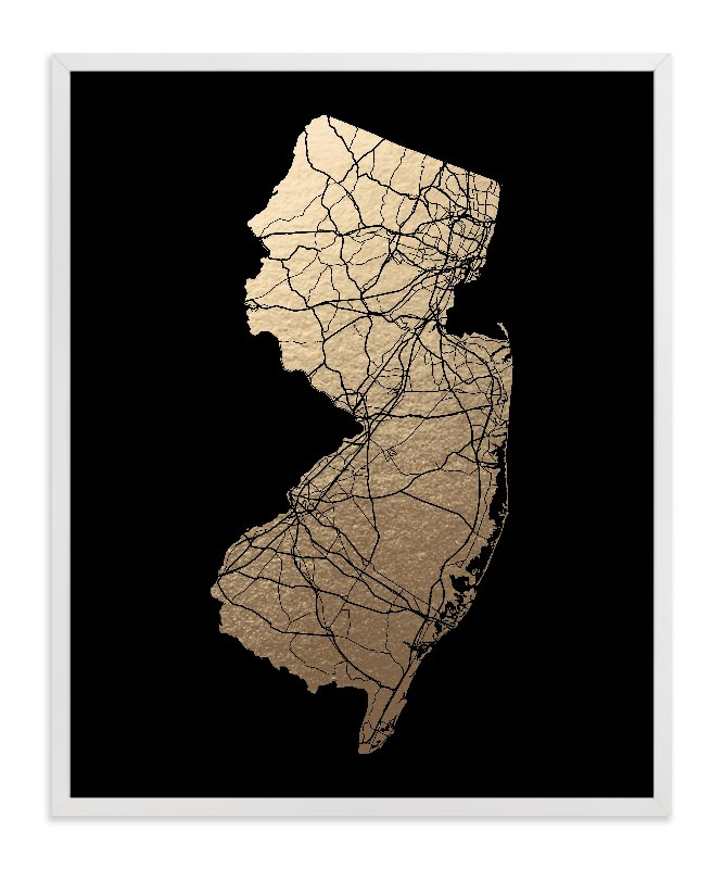 This is a black foil stamped wall art by GeekInk Design called New Jersey Map - Filled.