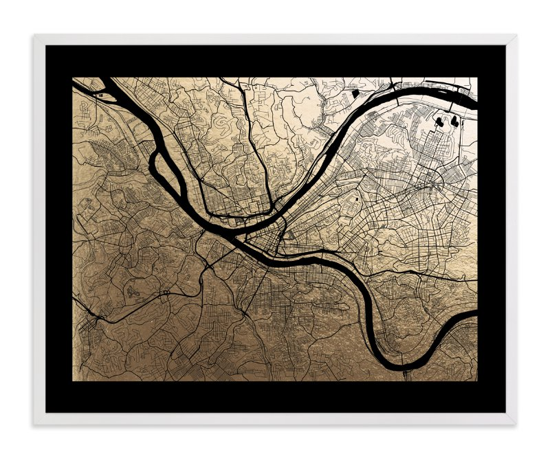 This is a black foil stamped wall art by Alex Elko Design called Pittsburgh Map with standard.