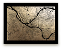 Pittsburgh Map Foil-Pressed Wall Art
