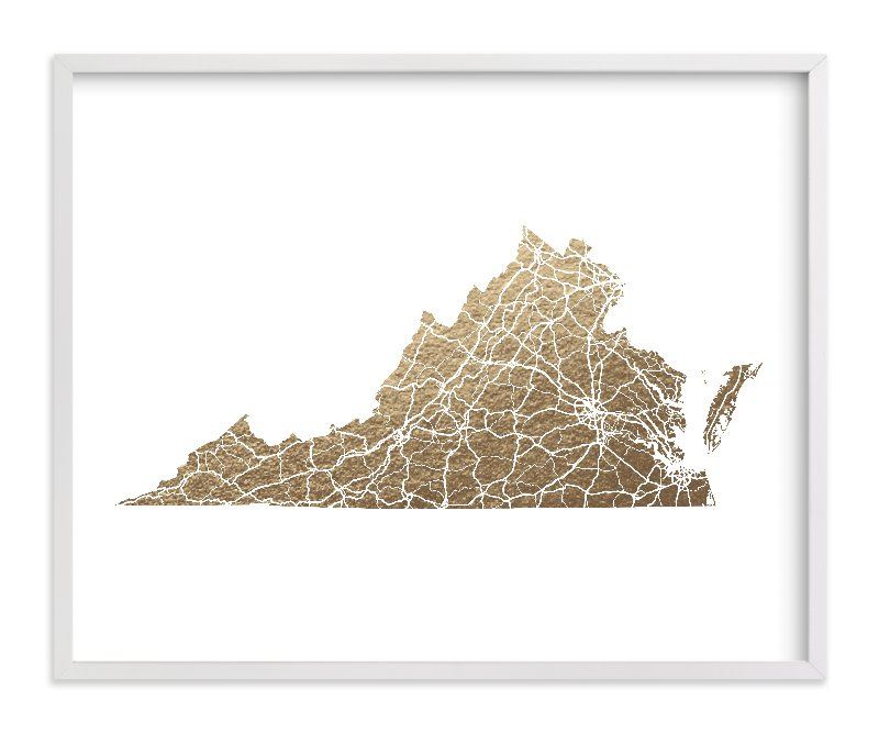 This is a gold foil stamped wall art by GeekInk Design called Virginia Map - Filled.
