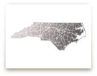 North Carolina Map Foil-Pressed Wall Art