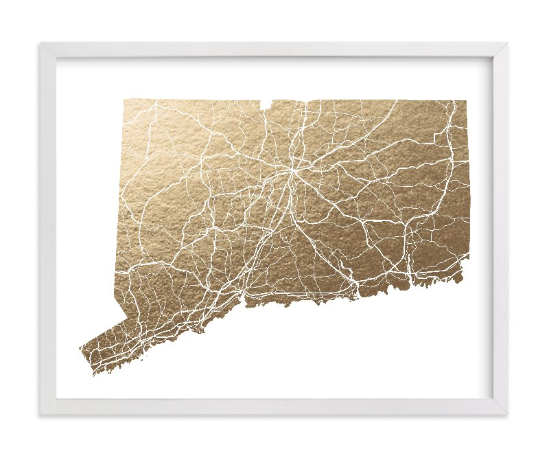 """Connecticut Map"" - Foil-pressed Art Print by GeekInk Design in beautiful frame options and a variety of sizes."