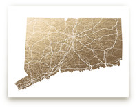 Connecticut Map Foil-Pressed Wall Art