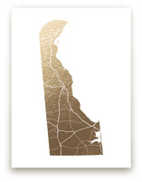Delaware Map Foil-Pressed Wall Art