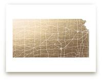 Kansas Map Foil-Pressed Wall Art