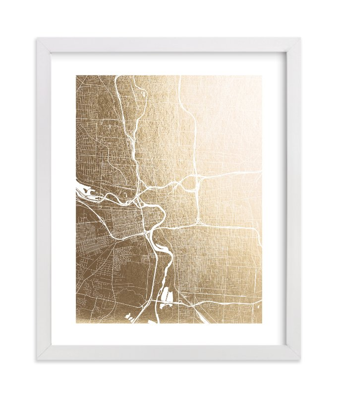 """""""Columbus Map"""" - Foil-pressed Art Print by Alex Elko Design in beautiful frame options and a variety of sizes."""